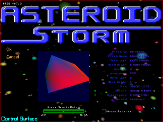 Asteroid Storm keys option screen